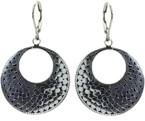 E234 KALA Classic Bali Dots Flat Round Earrings.  Bali .925 Sterling Silver.