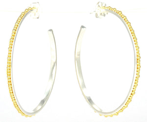 E300LG INDA Hand Beaded Post Earrings With 18k Gold Vermeil.  Large Version.  Bali .925 Sterling Silver.