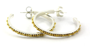 E300MG INDA Hand Beaded Post Earrings With 18k Gold Vermeil.  Medium Version.  Bali .925 Sterling Silver.