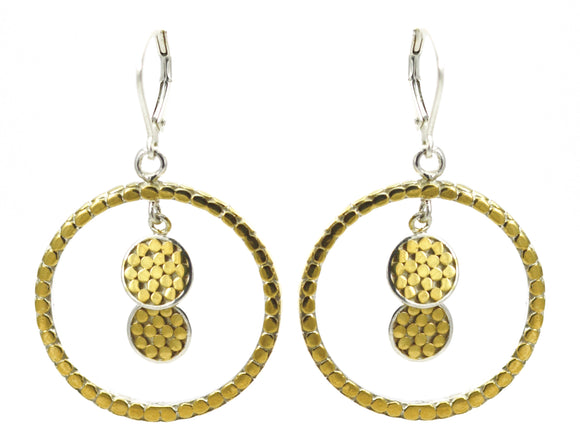 E315G SOHO Sterling Silver Double Dangle Disc Earrings with 18k Gold Vermeil.