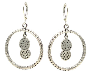SOHO Double Dangle Disc Earrings.  Bali .925 Sterling Silver.  E315