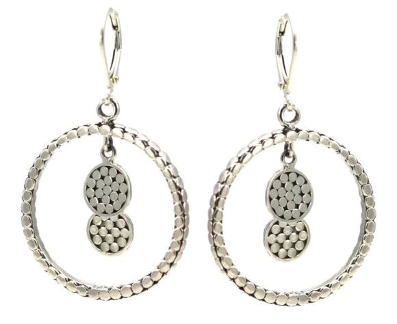 E315 SOHO Sterling Silver Double Dangle Disc Earrings