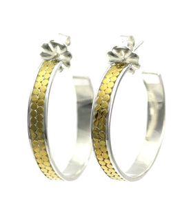 E320G KALA Double Row Hoop Earrings with 18k Gold Vermeil.  Bali .925 Sterling Silver