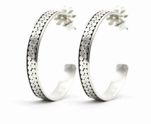 KALA Double Row Hoop Earring.  Bali .925 Sterling Silver.  E320
