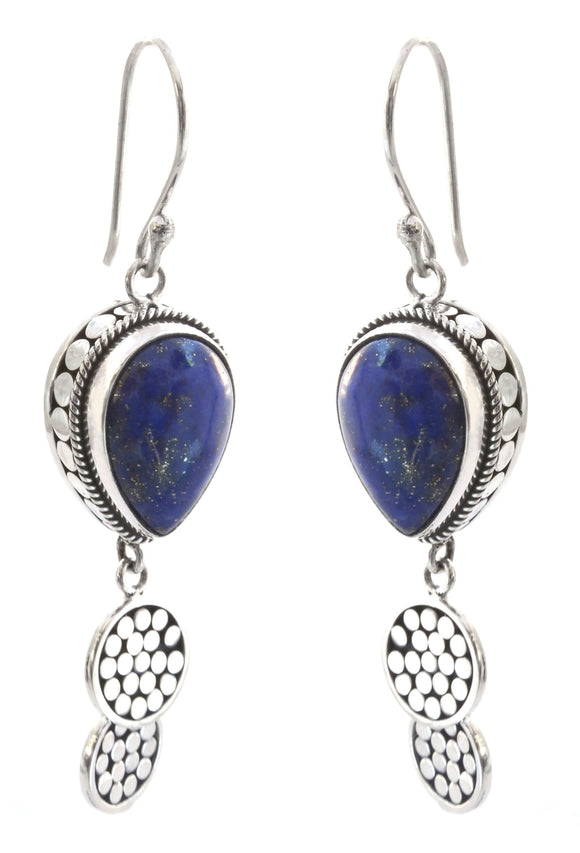E350LA KALA Double Disc Drop Earrings with Lapis.  Bali .925 Sterling Silver