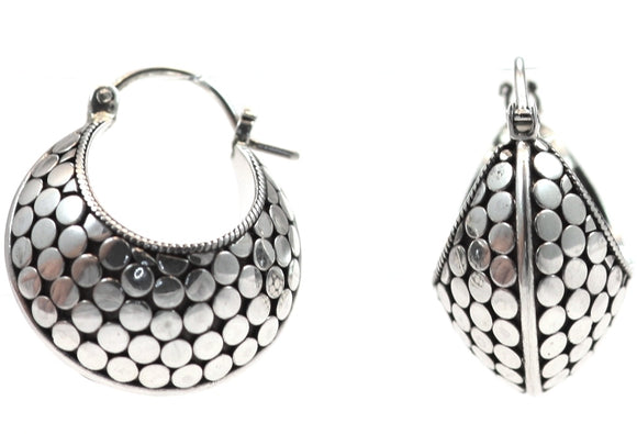 E401 KALA Scoop Style Earrings.  Bali .925 Sterling Silver