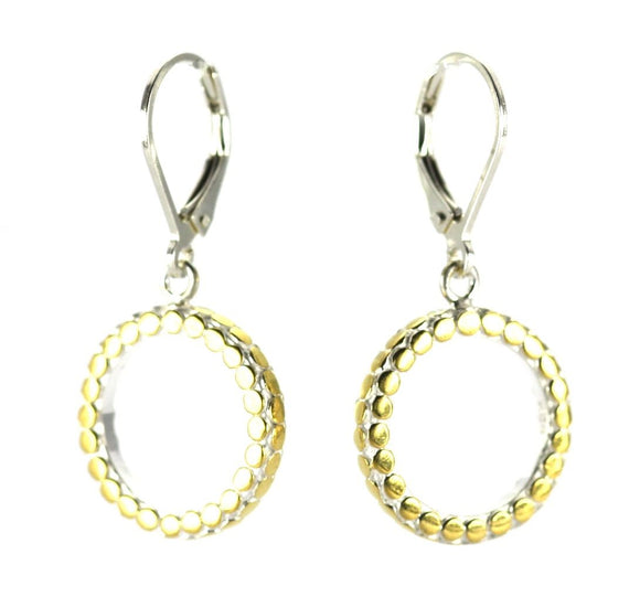 SOHO Circle Earrings with 18k gold vermail.  Bali .925 Sterling Silver.  E515G