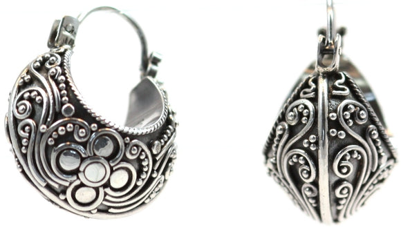 E587 DEWI Hand Adorned Filigree and Bead Scoop Earrings.  Bali .925 Sterling Silver.