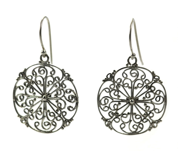 E677L FILI Hand Filigreed Large Earrings.  Bali .925 Sterling Silver