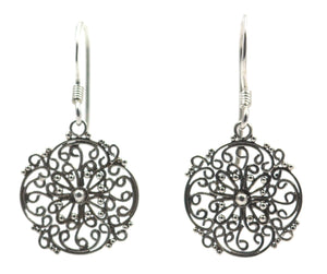 E677 FILI Hand Filigreed Earrings.  Bali .925 Sterling Silver