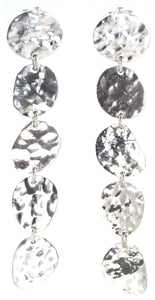 E718 KASI Hammered Five Segment Dangle Post Earrings