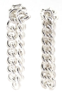 E724 KASI Sterling Silver Post Earrings with Chain Loop Design