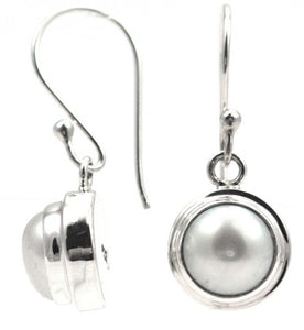 SANUR Freshwater Pearl Earrings.  Bali .925 Sterling Silver.  E745PL