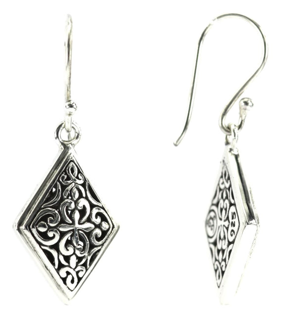 WEDA Diamond Shaped Filigree Earrings.  Bali .925 Sterling Silver.  E751