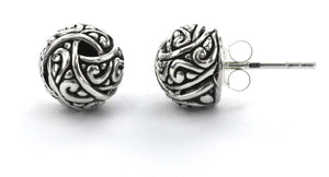 WEDA Knot Post Earrings.  Bali .925 Sterling Silver.  E757