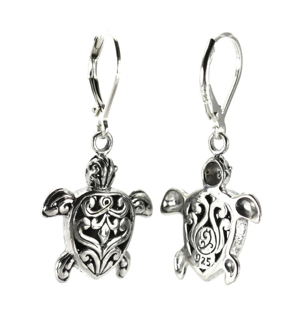 WEDA Turle Filigree Earrings.  Bali .925 Sterling Silver.  E760