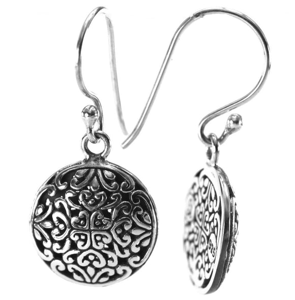 WEDA Round Filigree Earrings.  Bali .925 Sterling Silver.  E788