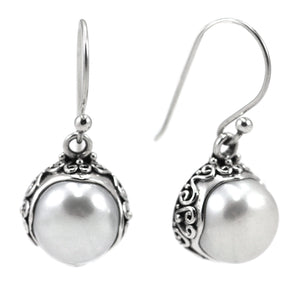 SANUR Freshwater Pearl Earrings with Filigree Adornment.  Bali .925 Sterling Silver.  E793PL