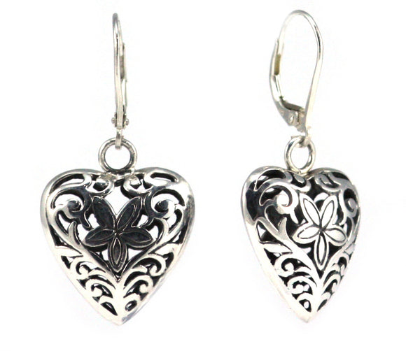 WEDA Heart Filigree Earrings.  Bali .925 Sterling Silver.  E796