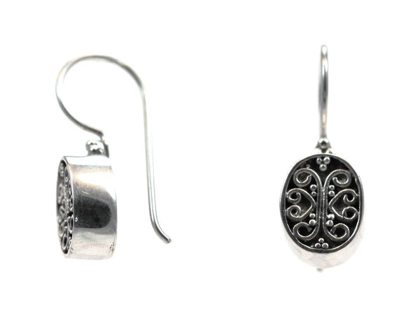 E821 DEWI Hand Filigreed Oval Earrings.  Bali .925 Sterling Silver.