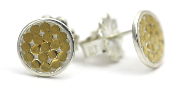 E840G KALA Single Disc Round Post Earrings with 18k Gold Vermeil.  Bali .925 Sterling Silver