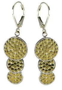 E841G KALA Triple Disc Drop Earrings with 18k Gold Vermeil.  Bali .925 Sterling Silver