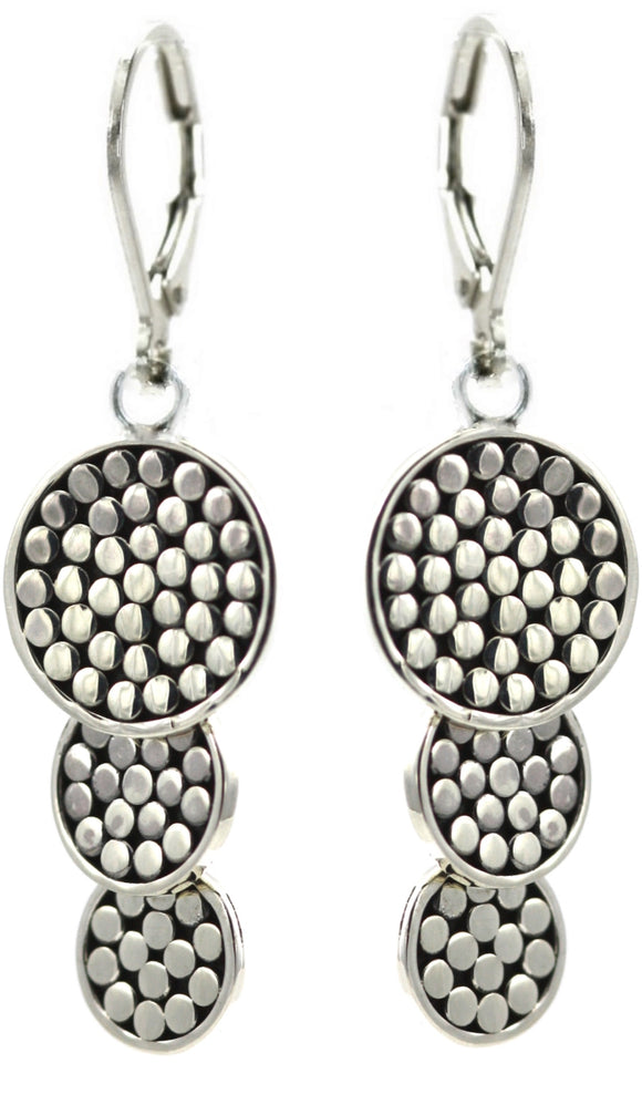 E841 KALA Triple Disc Drop Earrings.  Bali .925 Sterling Silver