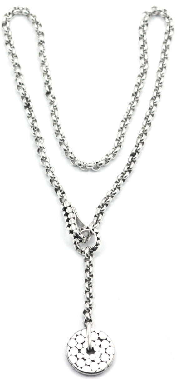 N041 LUNA .925 Sterling Silver Lariat Necklace