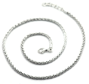 "N100 16-18"" .925 Sterling Silver Handmade Wheat Chain"