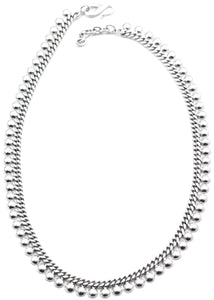 "N114 17""-18"" .925 Sterling Silver Flowing Bead Necklace"