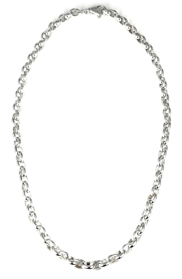N206 SURA .925 Sterling Silver Medium Weight Rolo Link Necklace