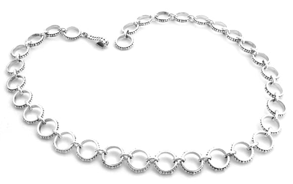 N300 INDA .925 Sterling Silver Hand Beaded Ring Link Necklace