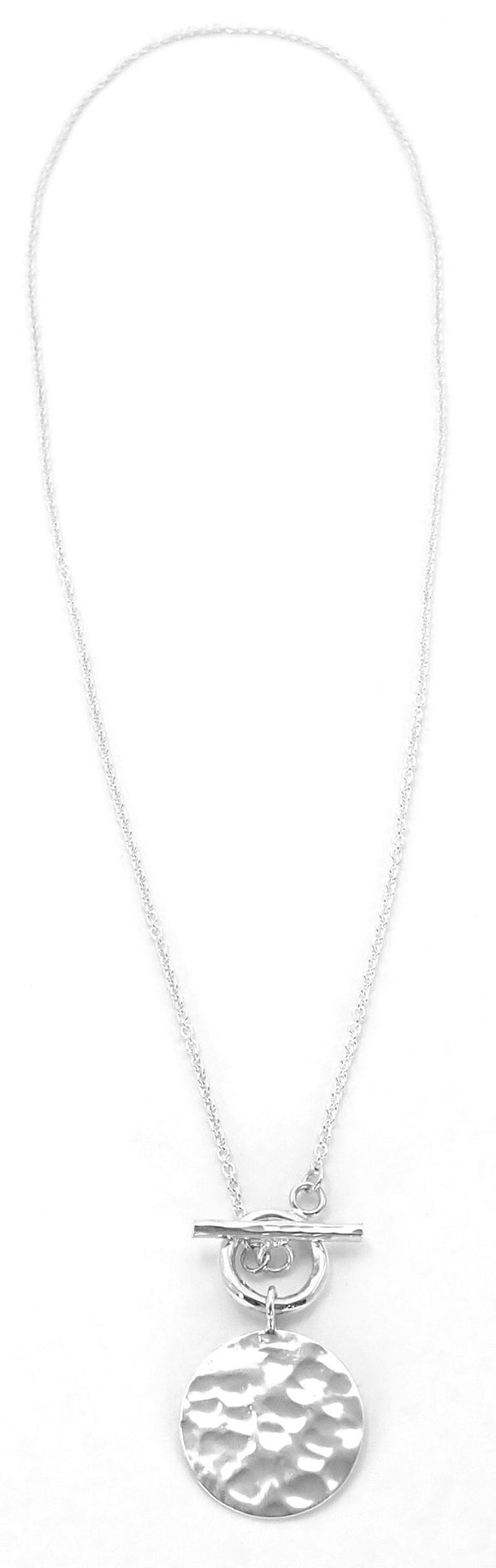 N720 KASI Hammered Sterling Silver Disc Toggle Necklace