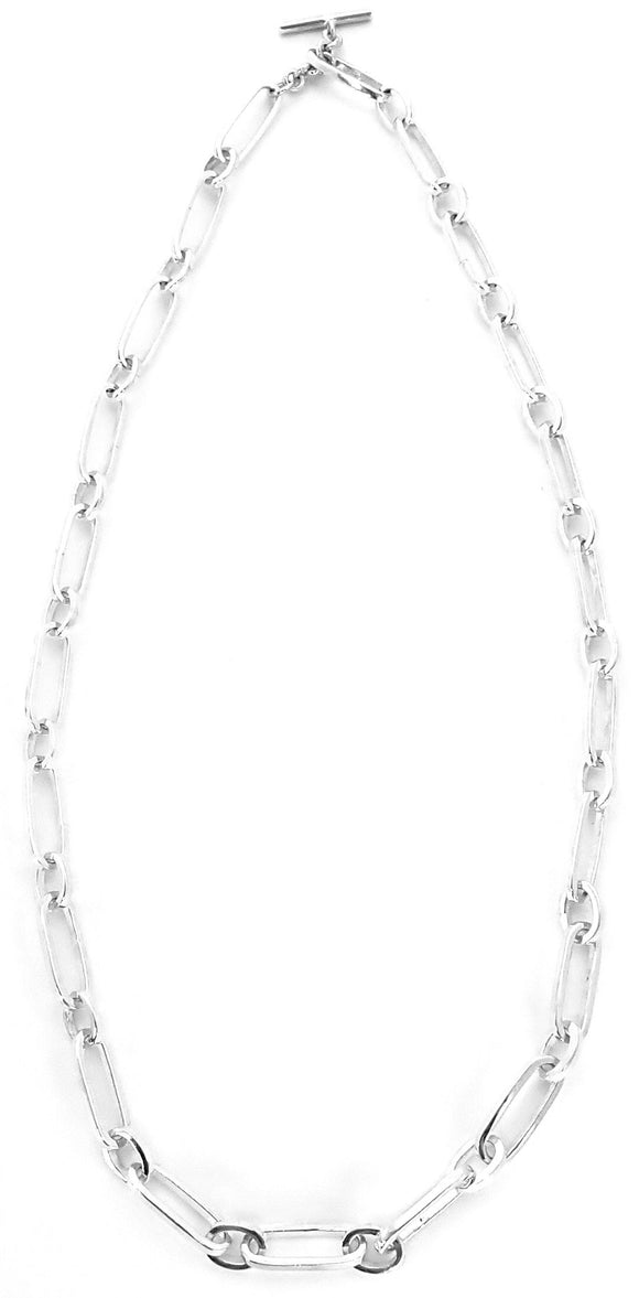 N727 KASI Sterling Silver Toggle Necklace with Alternating Oval and Round Links