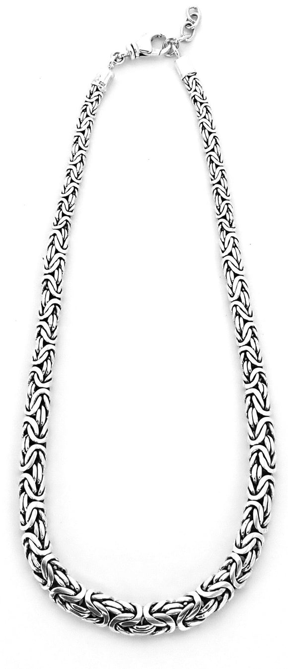 N747 SURA Sterling Silver Graduated and Flattened (Oval) Byzantine Chain Necklace