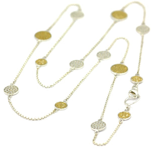 N841G KALA .925 Sterling Silver Round Multi-Station Necklace With 18k Gold Vermeil - Adjustable 24-26""