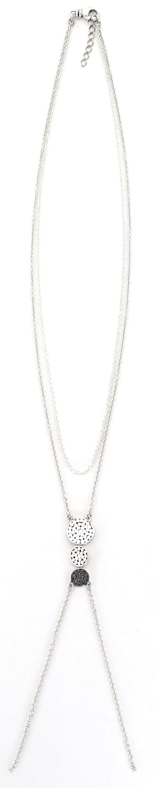 N842 KALA Double Strand Necklace With Three Disc Stations