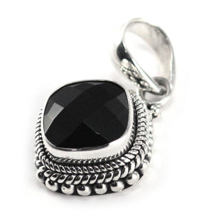 P002BOF PADMA .925 Sterling Silver Bali Beaded Faceted Black Onyx Pendant.