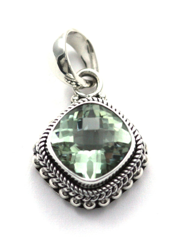 P002GA PADMA .925 Sterling Silver Bali 12mm Antique Checkerboard Green Amethyst Pendant.