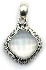 P002MPF PADMA .925 Sterling Silver Bali 12mm Checkerboard Faceted Crystal Quartz over MOP Pendant.