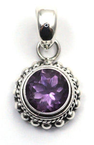 P003AM PADMA .925 Sterling Silver Bali Round Amethyst Granulation Pendant