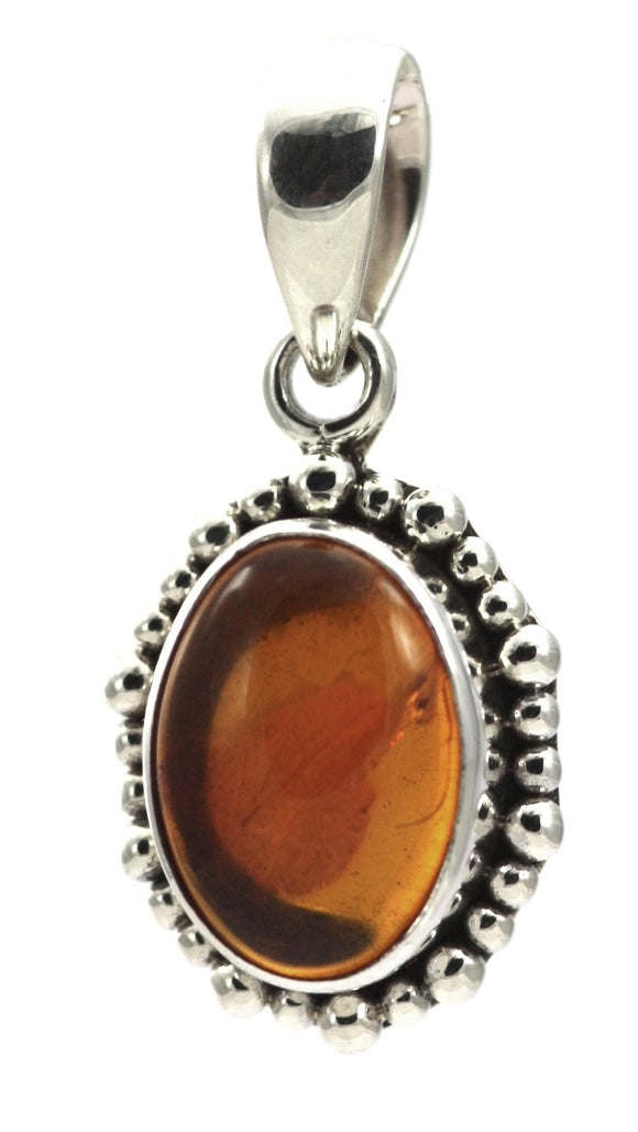 P004AB PADMA .925 Sterling Silver Oval Amber Beaded Pendant.