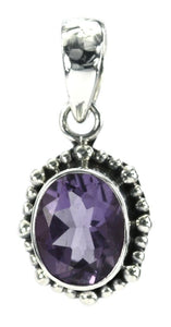 P004AM PADMA .925 Sterling Silver Oval Amethyst Beaded Pendant.