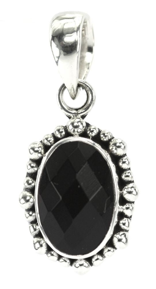 P004BOF PADMA .925 Sterling Silver Bali Oval Faceted Black Onyx Beaded Pendant.
