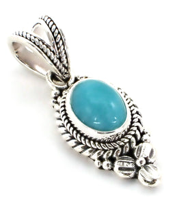 P012AZ P A D M A  .925 Sterling Silver Bali Pendant with Amazonite