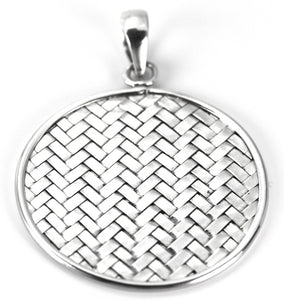 P022 ANYA .925 Sterling Silver Bali Woven 40mm Disc Pendant.