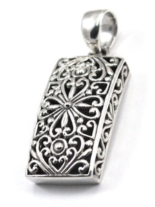 P103 WEDA .925 Sterling Silver Bali Rectangle Pendant.