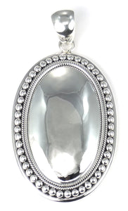P160 .925 Sterling Silver Bali Mirror Dome Large Pendant with Beaded Border.