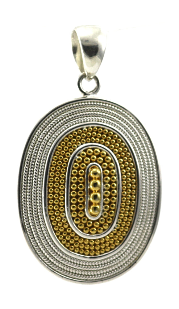 P176G RAYA 925 Sterling Silver Large Beaded Pendant With 18K Gold Vermeil.
