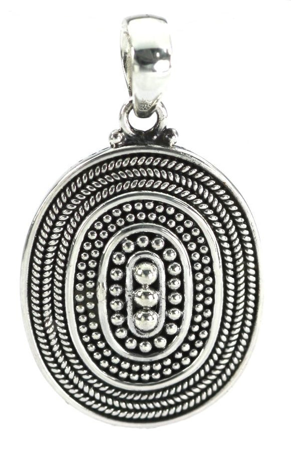 P123 RAYA .925 Sterling Silver Oval Beaded Pendant